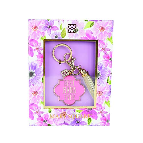 Mary Square Boxed Keychain Quatrefoil Best Nana Ever Pink