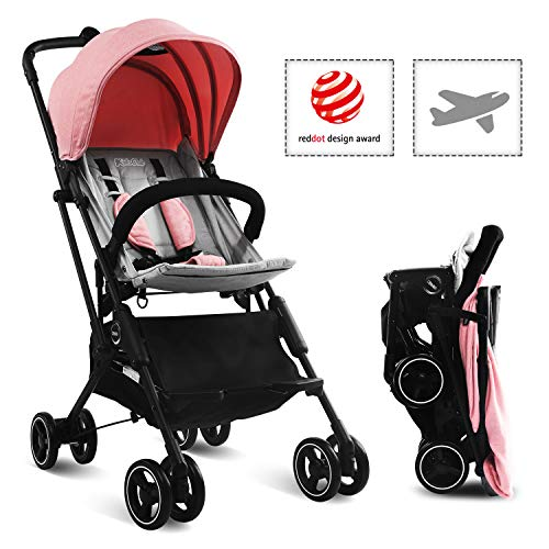 Stroller, Kidsclub, Airplane Stroller, Lightweight Compact Stroller for Toddler, One Button Foldable Stroller for 0-3 Y, Baby Stroller for Travel, Umbrella Stroller with Storage, No Need Installation