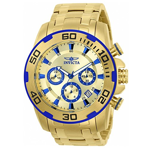 Invicta 22320 Men's Pro Diver Gold Dial Yellow Gold Steel Bracelet Chronograph Watch -