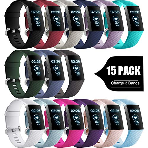 (GEAK for Fitbit Charge 3 Bands/Charge 3 SE Classic Bands, Sports Waterproof Replacement Watch Bands Compatible with Fitbit Charge 3 Bands for Women Men,Small 15 Colors)