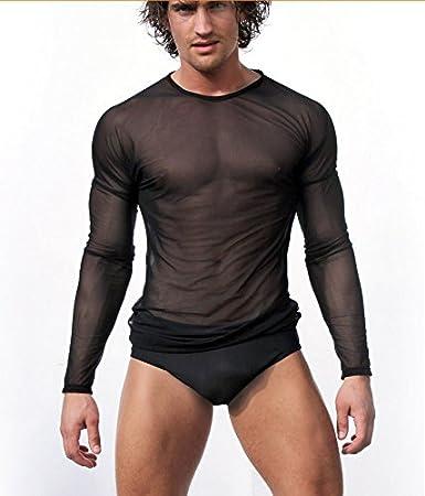 YYPF t-shirt manica lunga trasparente t-shirt tonda MLS Intimo uomo