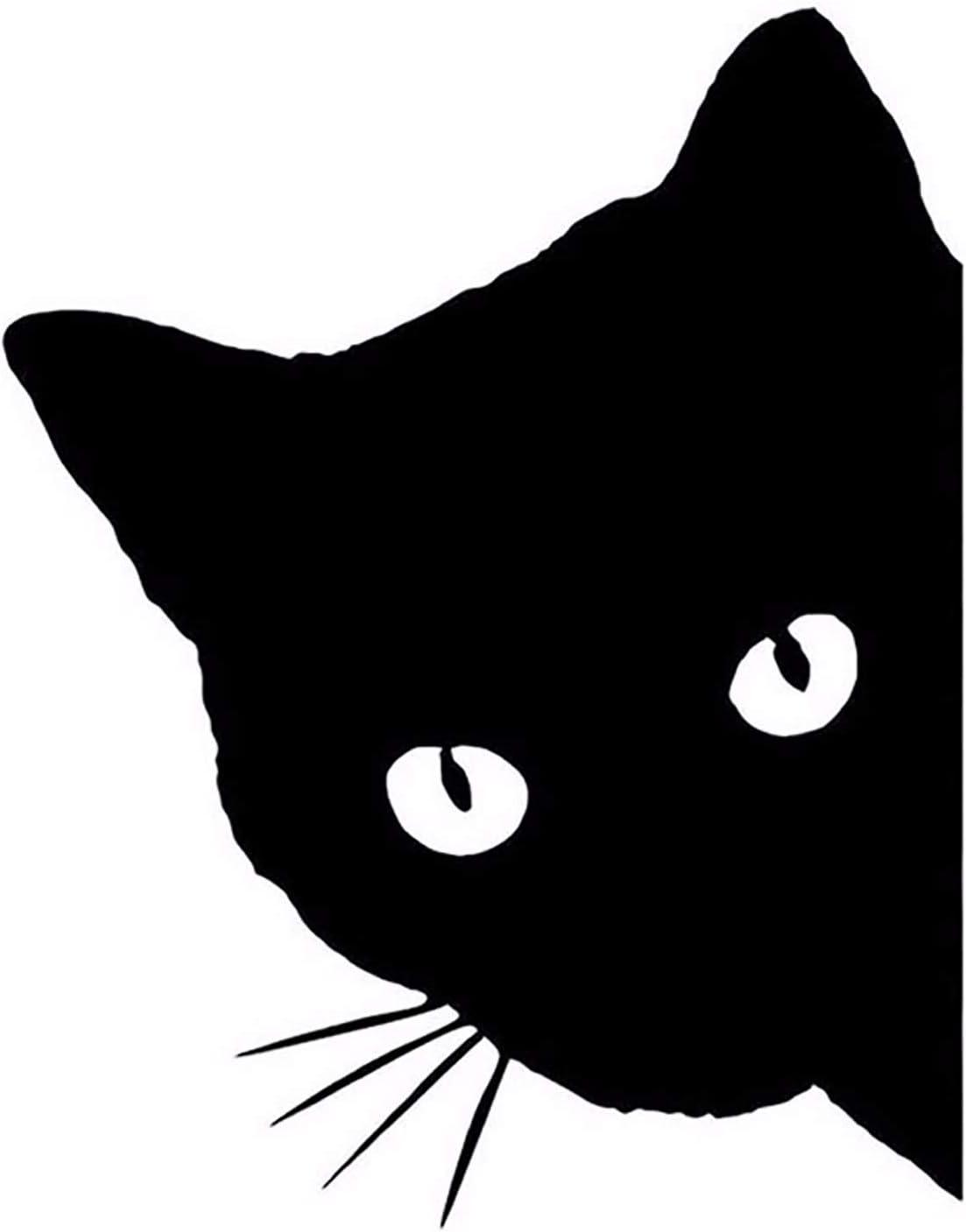 Amazon Com Toocust Reflective Cartoon Cat Lovely Cat Pet Cat Peeking Car Sticker 4 3x5 5 Inch Decal Sticker For Vehicle Car Truck Window Bumper Wall Decor Black Left Facing Automotive