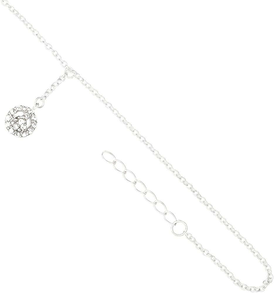 Beautiful Sterling silver 925 sterling Sterling Silver Rhodium-plate 9in w//1in ext CZ Peace Symbol Charm Anklet