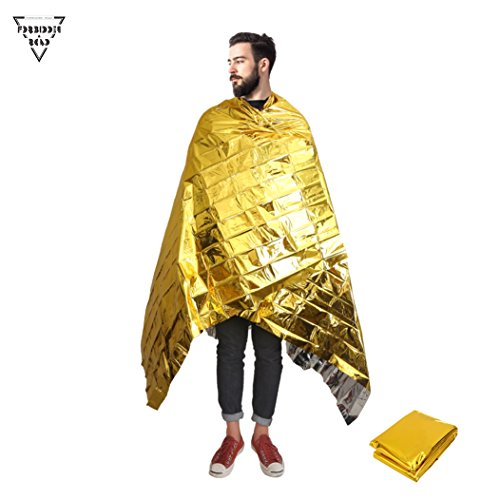 Forbidden Road Emergency Heated Blankets 3 Types First Aid Warm Fleece Blanket Thermal Survival Bag Gold Sliver Orange (Orange - set of 5 units) (Gold - 1 unit) Fold Thermal Blanket