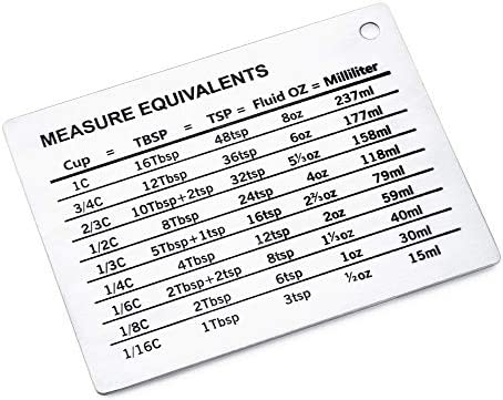 Latauar Magnetic Kitchen Conversion Chart - Professional Measurement Refrigerator Magnet in 18/8 Stainless Steel, Conversions for Cups, Tablespoons, Teaspoons, Fluid Oz and Milliliters. (1 Pack) 3