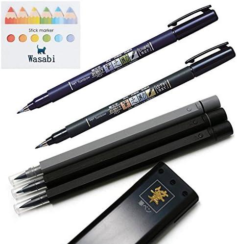 Tipo de punta de pincel Tombow Fudenosuke, duro & suave tipo + Mitsubishi, punta de pincel – Juego de 3 tipo fino y medio y color gris & Wasabi