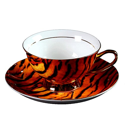 doublebulls Kitchen Bone China Ceramic Tea Cup Coffee Cup,Tiger-Print,Brown And Black
