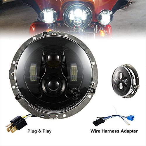 7' Conversion Round Headlamp (Liteway 7'' 80W Harley Daymaker Led Headlight Round LED Headlamp Assembly with DRL Hi/Lo Beam for Harley-Davidson Motorcycle with H4 Plug with Adapter Ring)