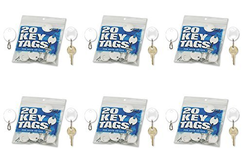MMF Industries Snap-Hook Key Tags, Plastic, 1.25 Inches Height, White, 20 per Pack (201800706), 6 Packs
