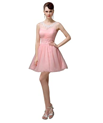 YesDress Juniors Lovely Off Shoulder Short Pink Party Homecoming Prom Dresses (UK4, Pink)