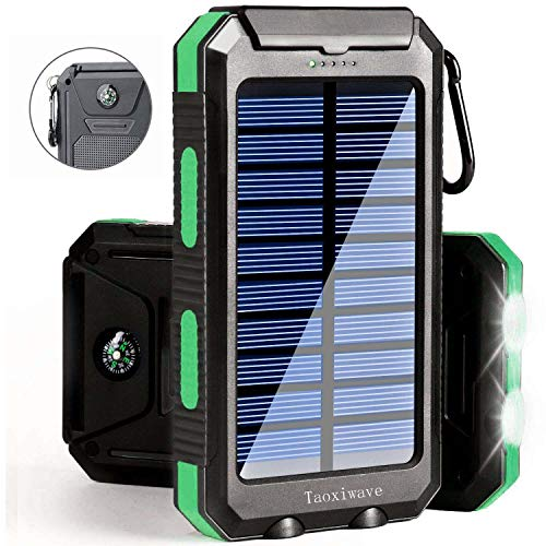 Solar Charger Solar Power Bank 20000mAh Waterproof Portable External Backup Outdoor Cell Phone Battery Charger with Dual LED Flashlight Solar Panel for iPhone Android Cellphones (Black & Green)