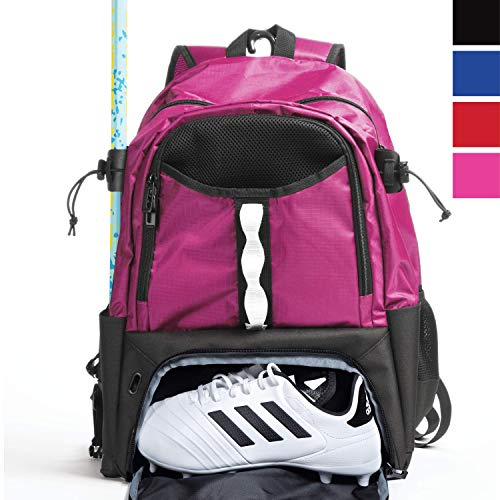 Athletico Youth Lacrosse Bag - Extra Large Lacrosse Backpack - Holds All Lacrosse or Field Hockey Equipment - Two Stick Holders and Separate Cleats Compartment (Pink)