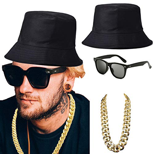 ZeroShop 80s/90s Hip-Hop Costume Kit - Cotton Bucket Hat,Gold Chain Beads,Oversized Rectangular Hip Hop Nerdy Lens Sunglasses (OneSize, Black)]()