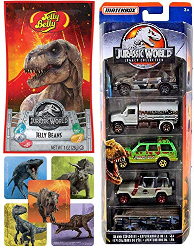 Legacy World Dino Rivals Park Jurassic Set Classic Collection Matchbox 5-Pack Island Explorers Bundled with Off-Road Vehicles Team Trucks / RV / Jeep /SUV / Ford Explorer & Jelly Bag & Mini Stickers