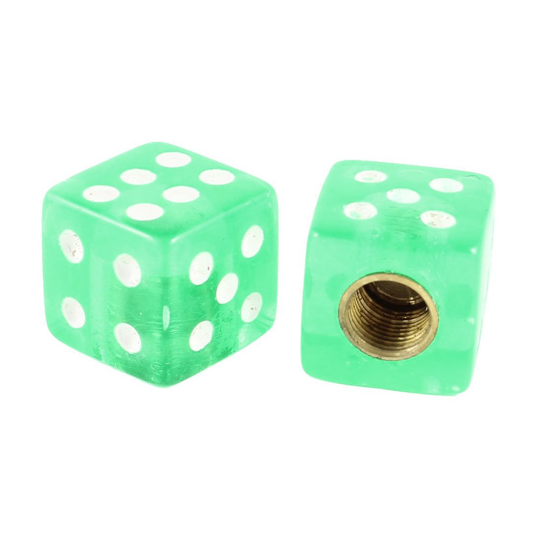REFURBISHHOUSE 4 Piezas de Casquillos de vastago de la Valvula del neumatico en Form de Dados de Cubo Verde para el Coche