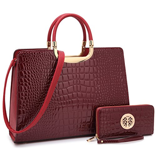 - Dasein Designer Purse Stripes Satchel Handbag PU Leather Purse Top Handle Handbags (4-croco wine wallet set)