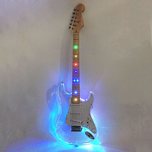 l 39 ms clear solid body acrylic see thru vintage style electric guitar with led ebay. Black Bedroom Furniture Sets. Home Design Ideas