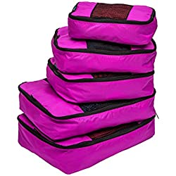 TravelWise Packing Cube System - Durable 5 Piece Weekender+ Set (Pink)