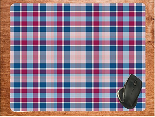 Flannel Plaid Textile Pattern Blue Red Huge 15.75 x 19.75 Desktop Office Gamer Silicone Mouse Pad Mousepad