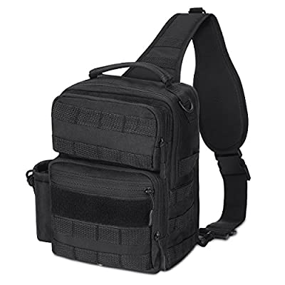 Tactical Sling Bag Pack Military Rover Shoulder Sling Backpack Daywalker Concealed Carry Bag with 2 Detachable Holsters,Small