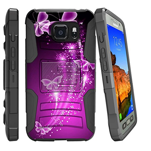 MINITURTLE Case Compatible w/Samsung Galaxy S7 Active (SM-G891A)[Dual Layer Hybrid Drop Protection Rugged Case] Belt Clip & Stand Phone Case by MINITURTLE - Hot Purple Butterfly