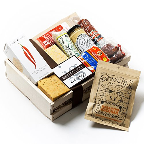 KaBloom Gift Basket Collection: Spicy Lover's Gourmet Meat and Cheese Gift Crate by KaBloom