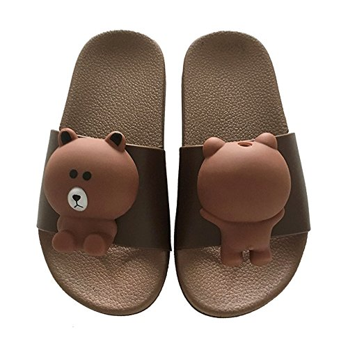 Back Strap Clog - Toddler Boy Girl Summer Sandals Non-Slip Little Kids Sport Slide Lightweight Beach Water Clogs Shoes Shower Pool Slippers (Little Kid 11.5-12M, Brown-Little Bear)