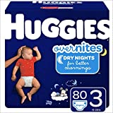HUGGIES OverNites Diapers, Size 3 (16-28 lb.), 80 ct, Overnight Diapers, Giga Jr Pack (Packaging May Vary): more info