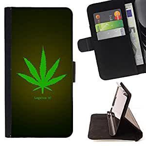 For Apple Iphone 6 Legalize Cannabis Hemp Weed Green Herbal Beautiful Print Wallet Leather Case Cover With Credit Card Slots And Stand Function