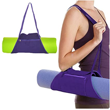 Ationgle Yoga Mat Bag | Outside Zip Closure Pocket | Exercise Yoga Mat Carrier, Sling Shoulder Bag Fits Most Size Mats (MAT is NOT Included), Canvas, ...