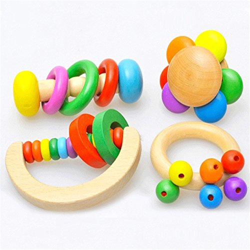 Wooden Bell Rattle Baby Handbell Musical Educational Toy - 2