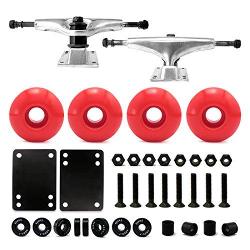 "VJ Skateboard Combo 5"" Trucks Silver, 52mm Skateboard Wheels, Abec7 Bearings, Screws, Riser Pads, Spacers (Red wheels) (Parts Skateboard)"