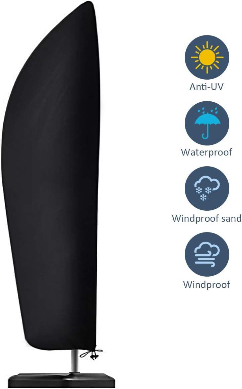 Funda para sombrilla, impermeable, resistente al viento, anti-UV, resistente a desgarros, tela Oxford 210D, extra grande, voladizo, con cremallera, (265 x 40/70 / 50 cm), color negro