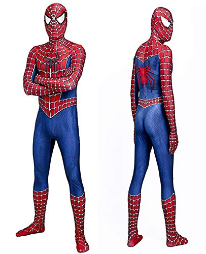 Classical Tobey Spiderman Zentai Suit for Halloween Cosplay Costume (X-Large) Red/Blue -