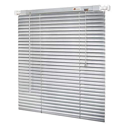 "MUANNA No Tools-No Drill 1″ Aluminum Horizontal Mini Window Blinds Shades 36"" W x 64"" L, Light Filtering Inside Installation, Silver Grey"