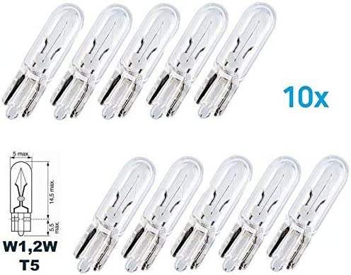 10x Stück W1 2w W2 1x9 5d T5 1 2w Kfz Beleuchtung Longlife Glühlampe Glassockellampe Glühbirne Soffitte Autolampen Werkstattware Chiavi Auto