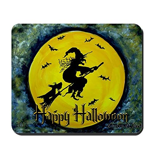 Thrieapple - Scottish Terrier and Halloween Witch Mousepad - Non-Slip Rubber Mousepad, Gaming Mouse Pad