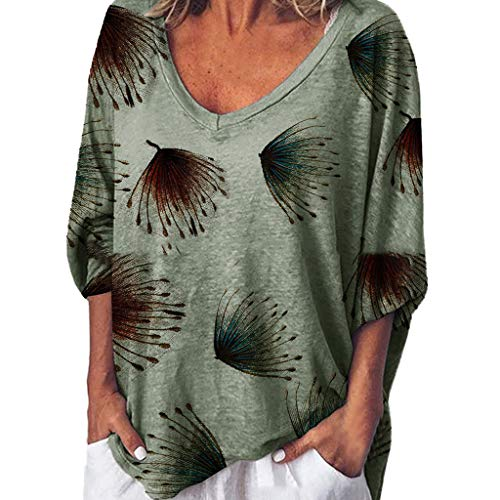 〓COOlCCI〓Womens Casual Short Sleeve V Neck Loose Tops Blouses T Shirts Tie Knot Tops Loose Fitting Bat Wing Shirts Green