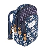 Ladies Girls Floral Crossbody Bag Mobile Phone Shoulder Bag Cotton Mobile Phone Handbag for Carrying Card Cellphone Pouch Purse Multi-Layered Wallet Royal Blue