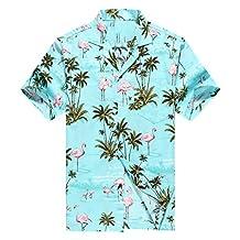 Made in Hawaii Men's Hawaiian Shirt Aloha Shirt Pink Flamingos Allover in Turquoise