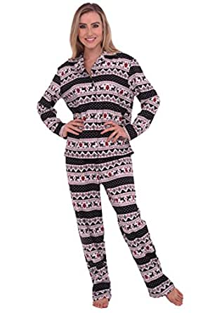 Del Rossa Women's Flannel Pajamas, Long Cotton Pj Set, Small Red White Blue Winter (A0509P97SM)