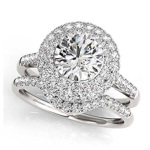 14K White Gold Unique Wedding Diamond Bridal Set Style MT50844