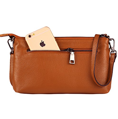 Slots with Phone Leather Clutch Orange Wallet Crossbody for Card Lecxci 3 Purse Small Zipper Bag Women Womens WB40qwSgOv