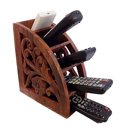 IndiaBigShop Wooden Handmade Remote Control Holder Brown TV / AC Remote Caddy Organizer with 5 Spacious Compartments 7.3 Inch (Console Toronto Tables)