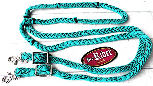 Horse Roping Knotted Tack Western Barrel Reins Nylon Braided 607228