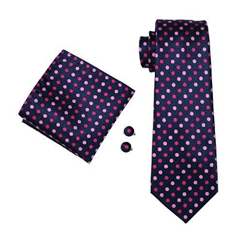 Dots Necktie Tie Hanky CAOFENVOO 0799 Men's N Cufflinks Polka Blue Pink Men's Set OCRSAqw