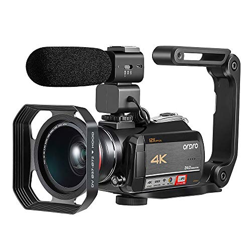 4K Camcorder, Video Camera ORDRO AC5 with 12x...