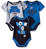 "NBA by Outerstuff NBA Newborn & Infant Oklahoma City Thunder ""Little Fan"" 3pc Bodysuit Set, Heather Grey, 24 Months"