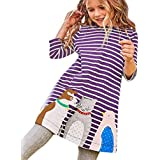 SUNTEAMO Toddler Kids Baby Girls Long Sleeve Cartoon Animal Stripe Dress Outfits Clothes (Purple, 2T)