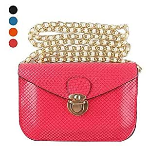 WEV 5.5 inch Following Multifunctional Snake Texture Pearl Chain PU Handbags for iPhone and Others (Assorted Colors) , Blue